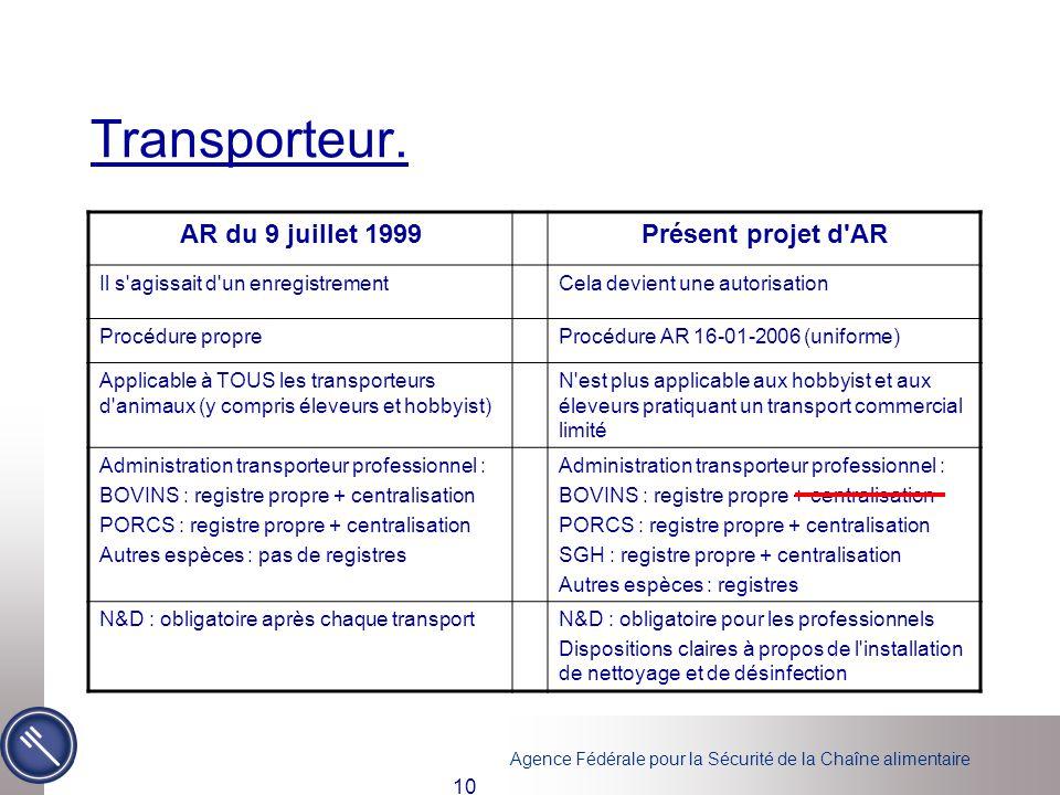 Agence Fédérale pour la Sécurité de la Chaîne alimentaire 10 Transporteur. [3][3] SGH = ovins, caprins et cervidés [4][4] N&D = nettoyage et désinfect