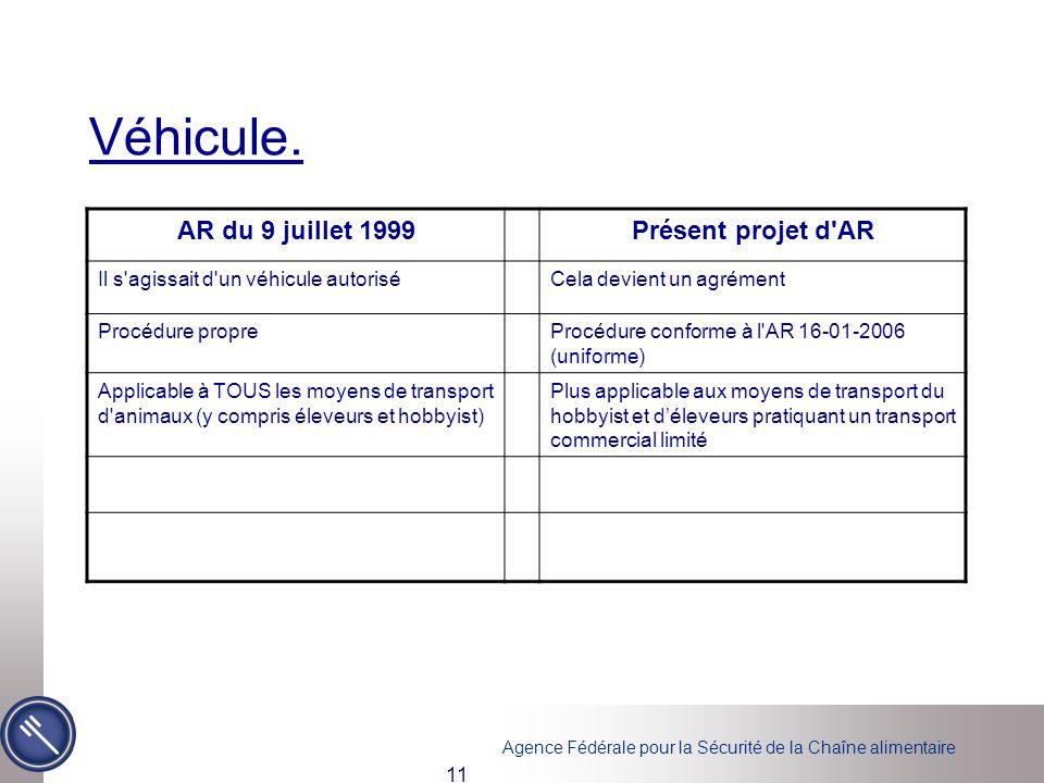Agence Fédérale pour la Sécurité de la Chaîne alimentaire 11 Véhicule. AR du 9 juillet 1999Présent projet d'AR Il s'agissait d'un véhicule autoriséCel