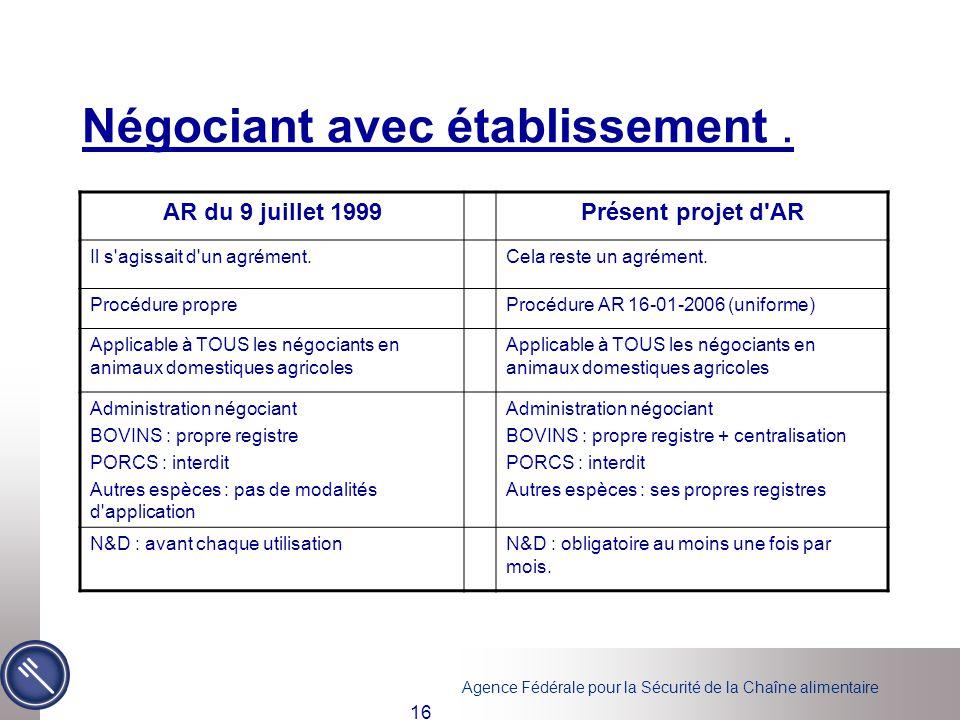 Agence Fédérale pour la Sécurité de la Chaîne alimentaire 16 Négociant avec établissement. AR du 9 juillet 1999Présent projet d'AR Il s'agissait d'un