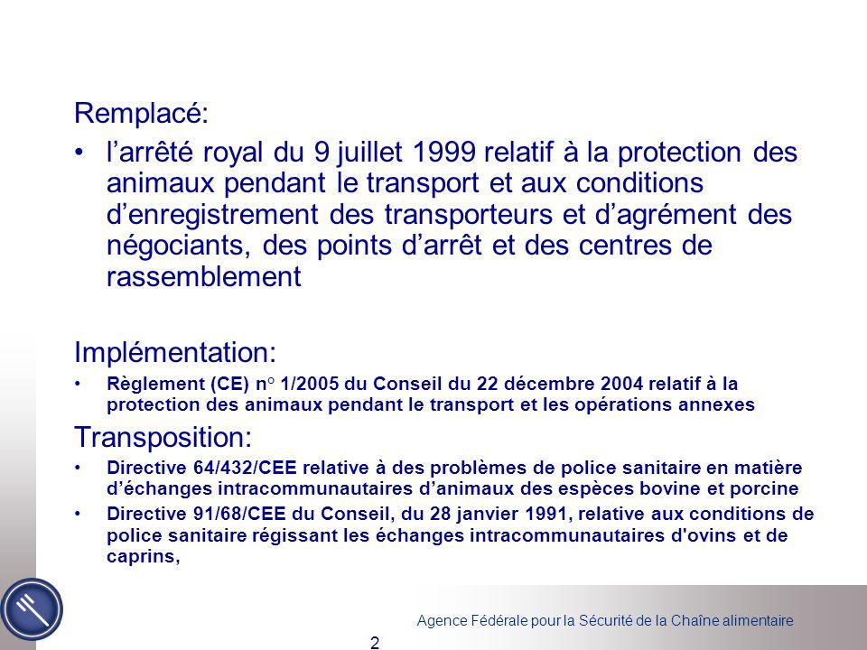 Agence Fédérale pour la Sécurité de la Chaîne alimentaire 2 Remplacé: l'arrêté royal du 9 juillet 1999 relatif à la protection des animaux pendant le