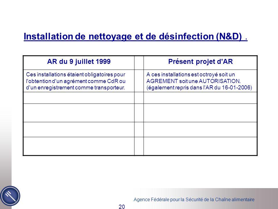 Agence Fédérale pour la Sécurité de la Chaîne alimentaire 20 Installation de nettoyage et de désinfection (N&D). AR du 9 juillet 1999Présent projet d'