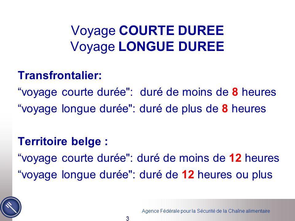 """Agence Fédérale pour la Sécurité de la Chaîne alimentaire 3 Voyage COURTE DUREE Voyage LONGUE DUREE Transfrontalier: """"voyage courte durée"""