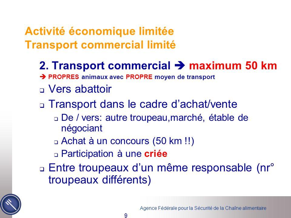 Agence Fédérale pour la Sécurité de la Chaîne alimentaire 9 2. Transport commercial  maximum 50 km  PROPRES animaux avec PROPRE moyen de transport 