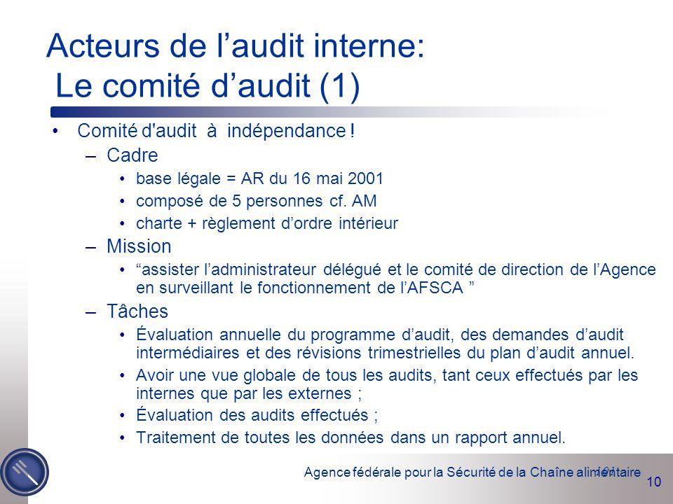 Agence fédérale pour la Sécurité de la Chaîne alimentaire 10 101 Acteurs de l'audit interne: Le comité d'audit (1) Comité d'audit à indépendance ! –Ca