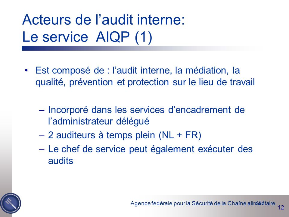 Agence fédérale pour la Sécurité de la Chaîne alimentaire 12 121 Acteurs de l'audit interne: Le service AIQP (1) Est composé de : l'audit interne, la