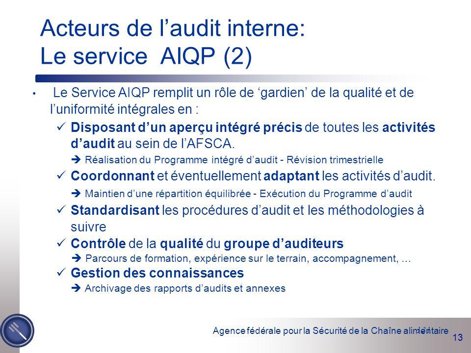 Agence fédérale pour la Sécurité de la Chaîne alimentaire 13 131 Le Service AIQP remplit un rôle de 'gardien' de la qualité et de l'uniformité intégra