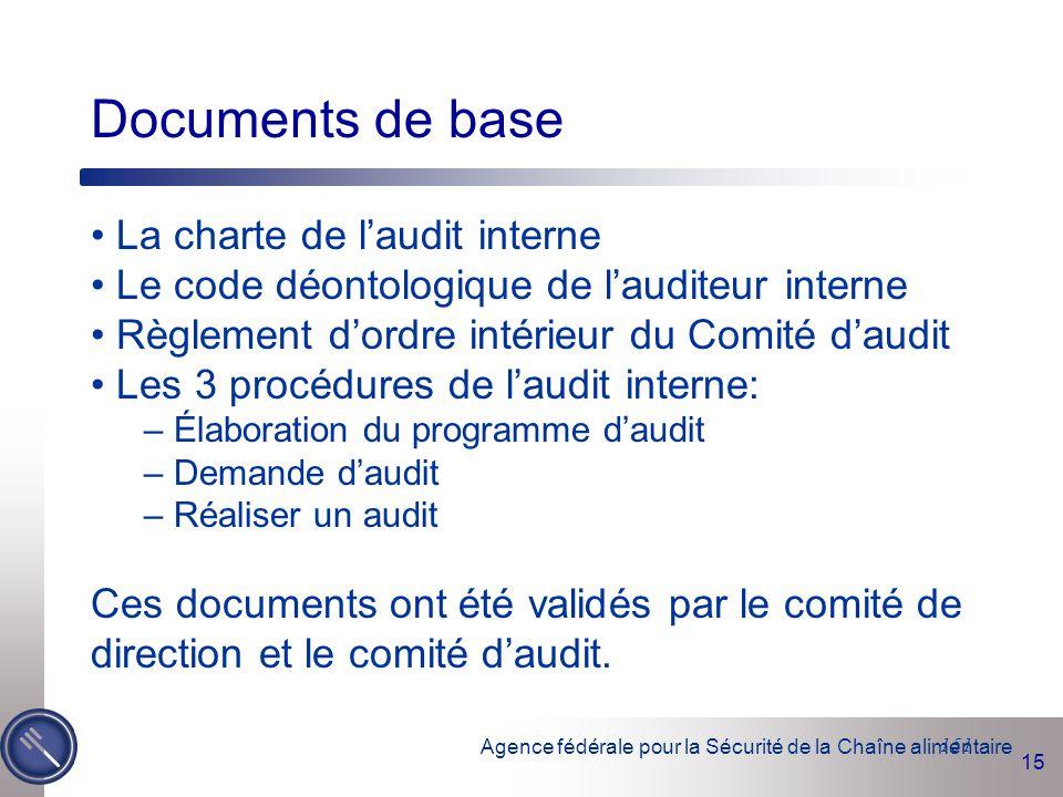 Agence fédérale pour la Sécurité de la Chaîne alimentaire 15 151 Documents de base La charte de l'audit interne Le code déontologique de l'auditeur in
