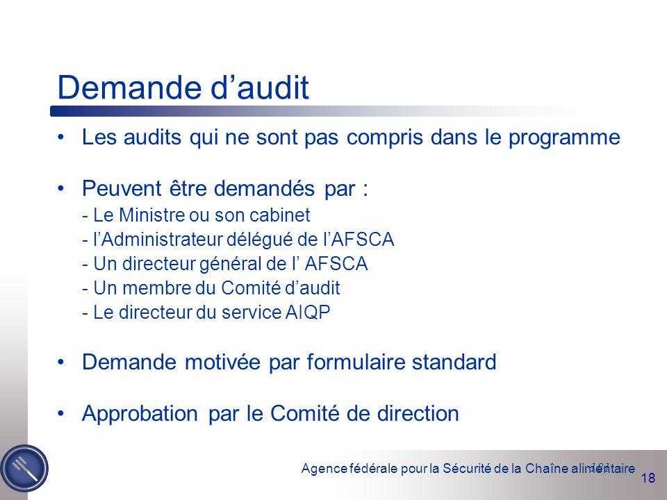 Agence fédérale pour la Sécurité de la Chaîne alimentaire 18 181 Demande d'audit Les audits qui ne sont pas compris dans le programme Peuvent être dem