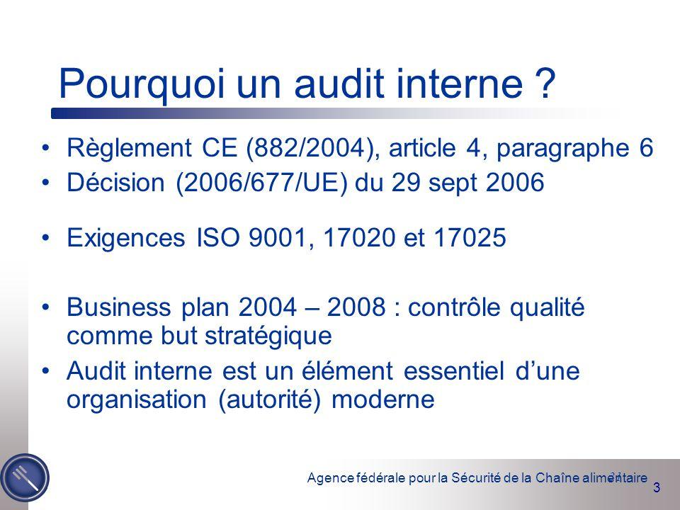 Agence fédérale pour la Sécurité de la Chaîne alimentaire 3 31 Pourquoi un audit interne ? Règlement CE (882/2004), article 4, paragraphe 6 Décision (