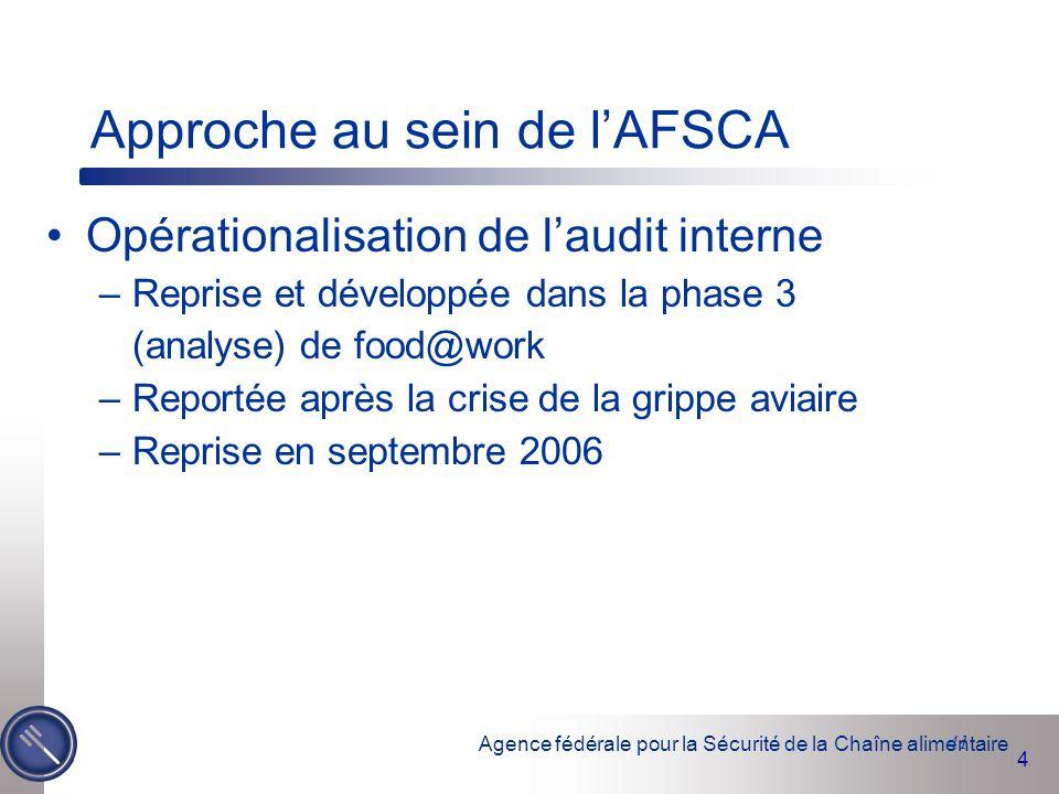 Agence fédérale pour la Sécurité de la Chaîne alimentaire 4 41 Approche au sein de l'AFSCA Opérationalisation de l'audit interne –Reprise et développé