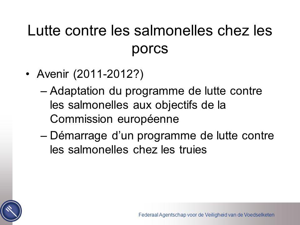 Federaal Agentschap voor de Veiligheid van de Voedselketen Lutte contre les salmonelles chez les porcs Avenir (2011-2012?) –Adaptation du programme de