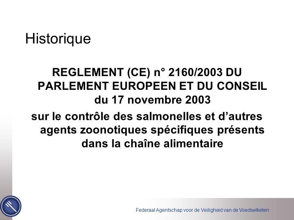 Federaal Agentschap voor de Veiligheid van de Voedselketen Historique REGLEMENT (CE) n° 2160/2003 DU PARLEMENT EUROPEEN ET DU CONSEIL du 17 novembre 2