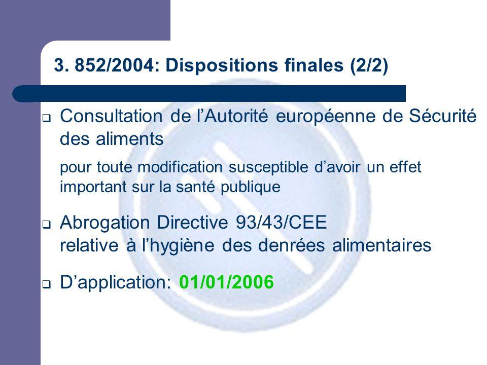 3. 852/2004: Dispositions finales (2/2)  Consultation de l'Autorité européenne de Sécurité des aliments pour toute modification susceptible d'avoir u