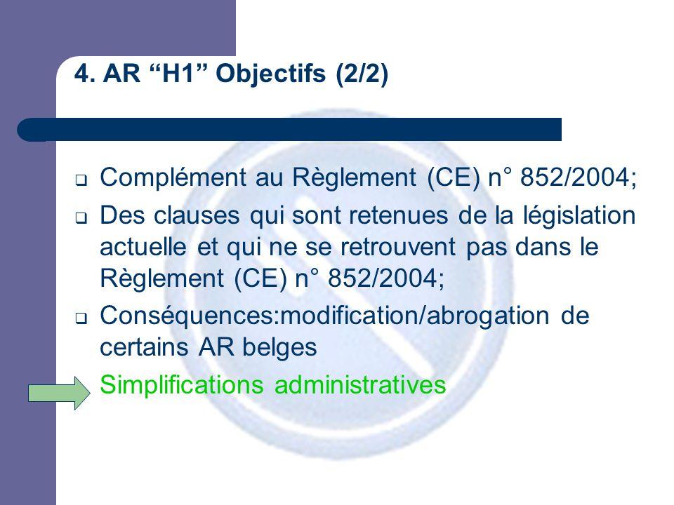"""4. AR """"H1"""" Objectifs (2/2)  Complément au Règlement (CE) n° 852/2004;  Des clauses qui sont retenues de la législation actuelle et qui ne se retrouv"""