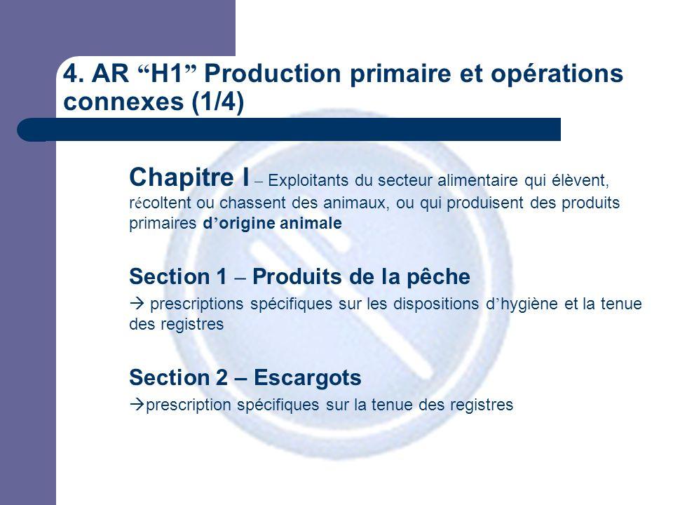 """4. AR """" H1 """" Production primaire et opérations connexes (1/4) Chapitre I – Exploitants du secteur alimentaire qui élèvent, r é coltent ou chassent des"""