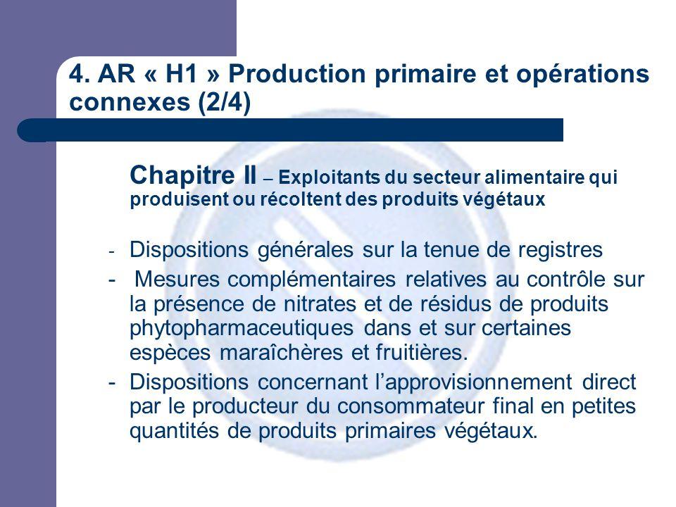 4. AR « H1 » Production primaire et opérations connexes (2/4) Chapitre II – Exploitants du secteur alimentaire qui produisent ou récoltent des produit