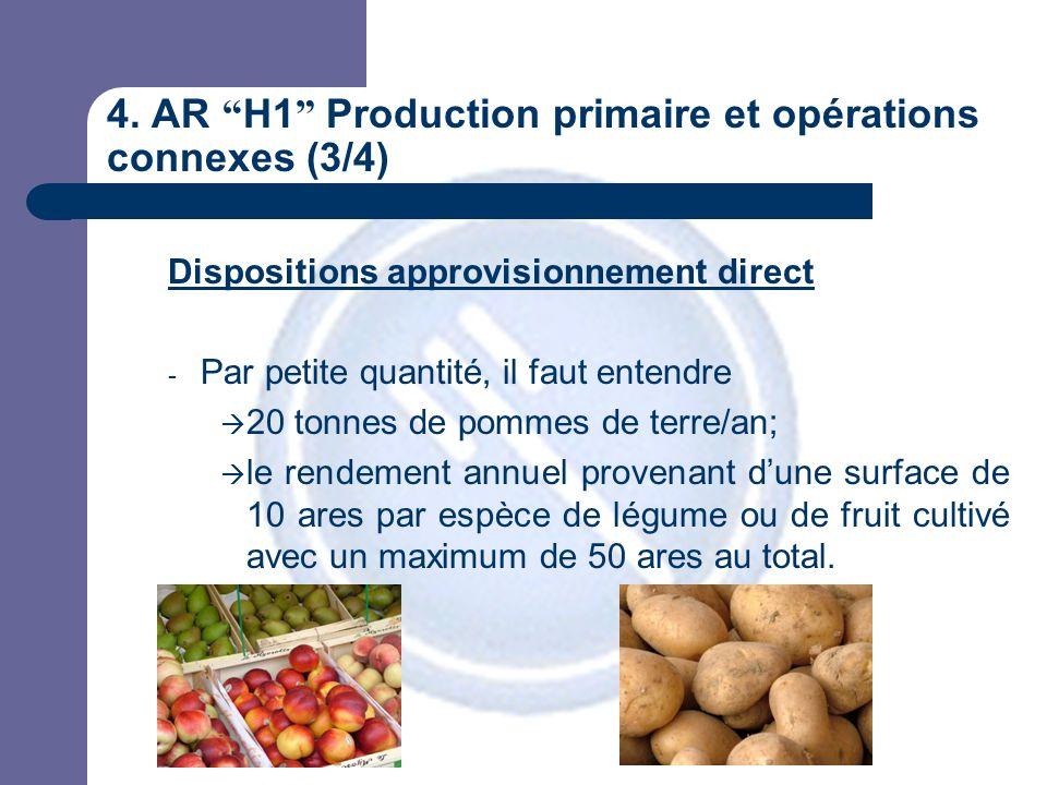 """4. AR """" H1 """" Production primaire et opérations connexes (3/4) Dispositions approvisionnement direct - Par petite quantité, il faut entendre  20 tonne"""