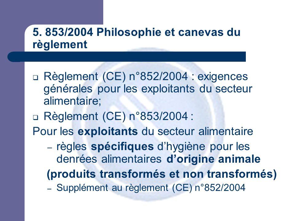 5. 853/2004 Philosophie et canevas du règlement  Règlement (CE) n°852/2004 : exigences générales pour les exploitants du secteur alimentaire;  Règle