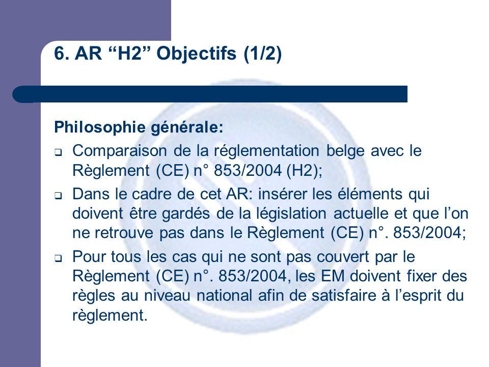 """6. AR """"H2"""" Objectifs (1/2) Philosophie générale:  Comparaison de la réglementation belge avec le Règlement (CE) n° 853/2004 (H2);  Dans le cadre de"""