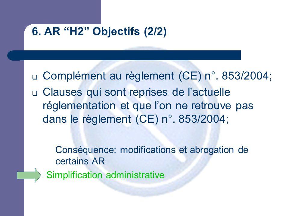 6. AR H2 Objectifs (2/2)  Complément au règlement (CE) n°.