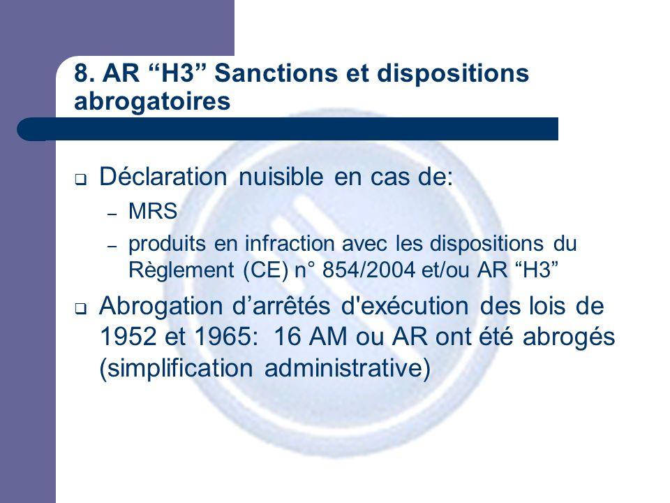 """8. AR """"H3"""" Sanctions et dispositions abrogatoires  Déclaration nuisible en cas de: – MRS – produits en infraction avec les dispositions du Règlement"""