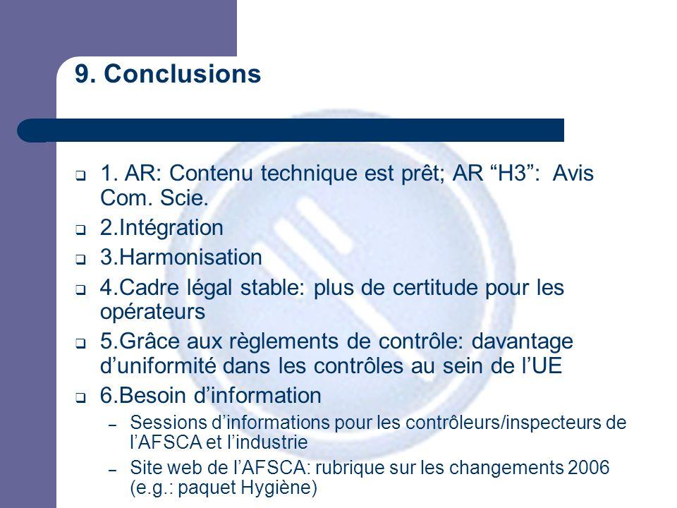 9. Conclusions  1. AR: Contenu technique est prêt; AR H3 : Avis Com.