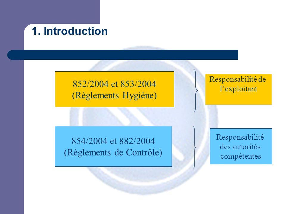 1. Introduction 852/2004 et 853/2004 (Règlements Hygiène) 854/2004 et 882/2004 (Règlements de Contrôle) Responsabilité de l'exploitant Responsabilité