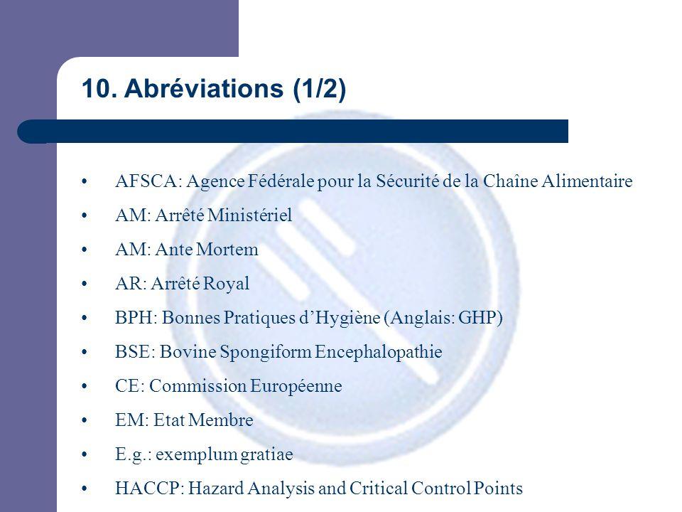 10. Abréviations (1/2) AFSCA: Agence Fédérale pour la Sécurité de la Chaîne Alimentaire AM: Arrêté Ministériel AM: Ante Mortem AR: Arrêté Royal BPH: B