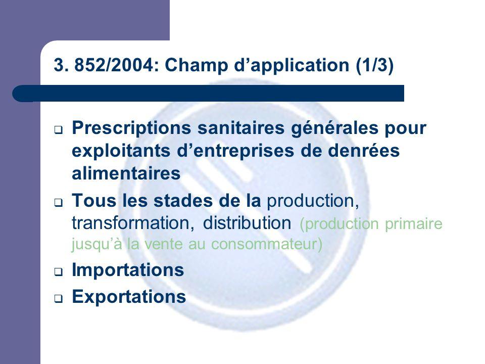 3. 852/2004: Champ d'application (1/3)  Prescriptions sanitaires générales pour exploitants d'entreprises de denrées alimentaires  Tous les stades d