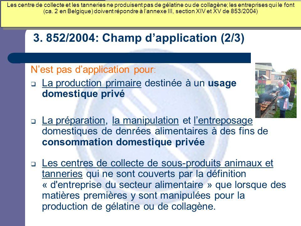 3. 852/2004: Champ d'application (2/3) N'est pas d'application pour :  La production primaire destinée à un usage domestique privé  La préparation,