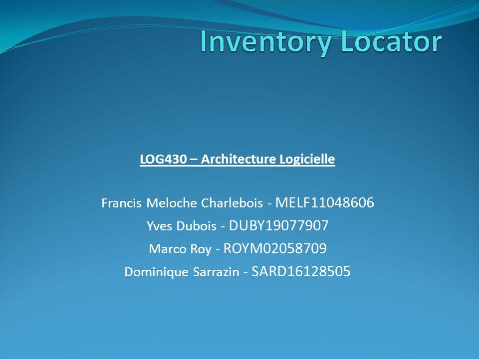 LOG430 – Architecture Logicielle Francis Meloche Charlebois - MELF11048606 Yves Dubois - DUBY19077907 Marco Roy - ROYM02058709 Dominique Sarrazin - SA