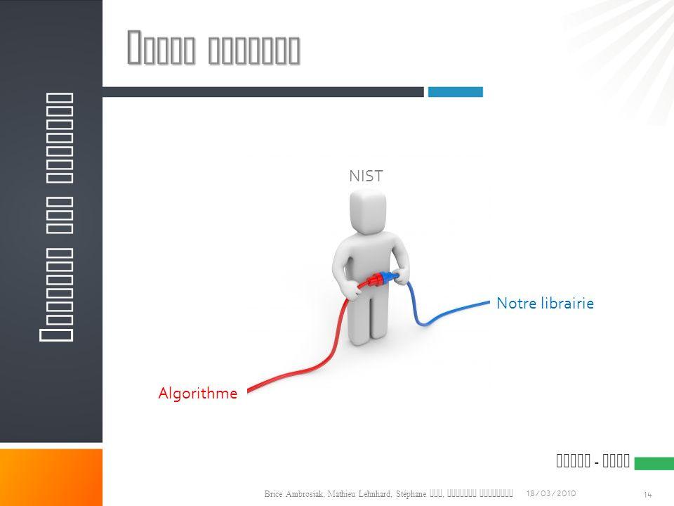 ESIAL - NIST 18/03/2010 Brice Ambrosiak, Mathieu Lehnhard, Stéphane Qin, Olivier Versanne 14 A NALYSE DES BESOINS Algorithme Notre librairie NIST