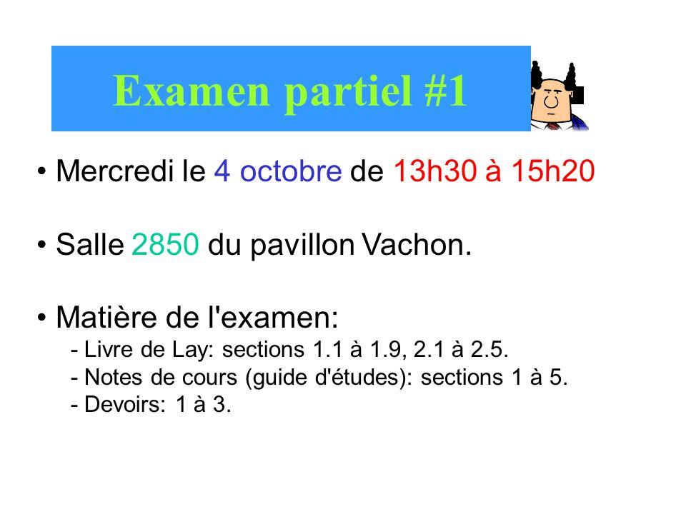 Examen partiel #1 Mercredi le 4 octobre de 13h30 à 15h20 Salle 2850 du pavillon Vachon. Matière de l'examen: - Livre de Lay: sections 1.1 à 1.9, 2.1 à