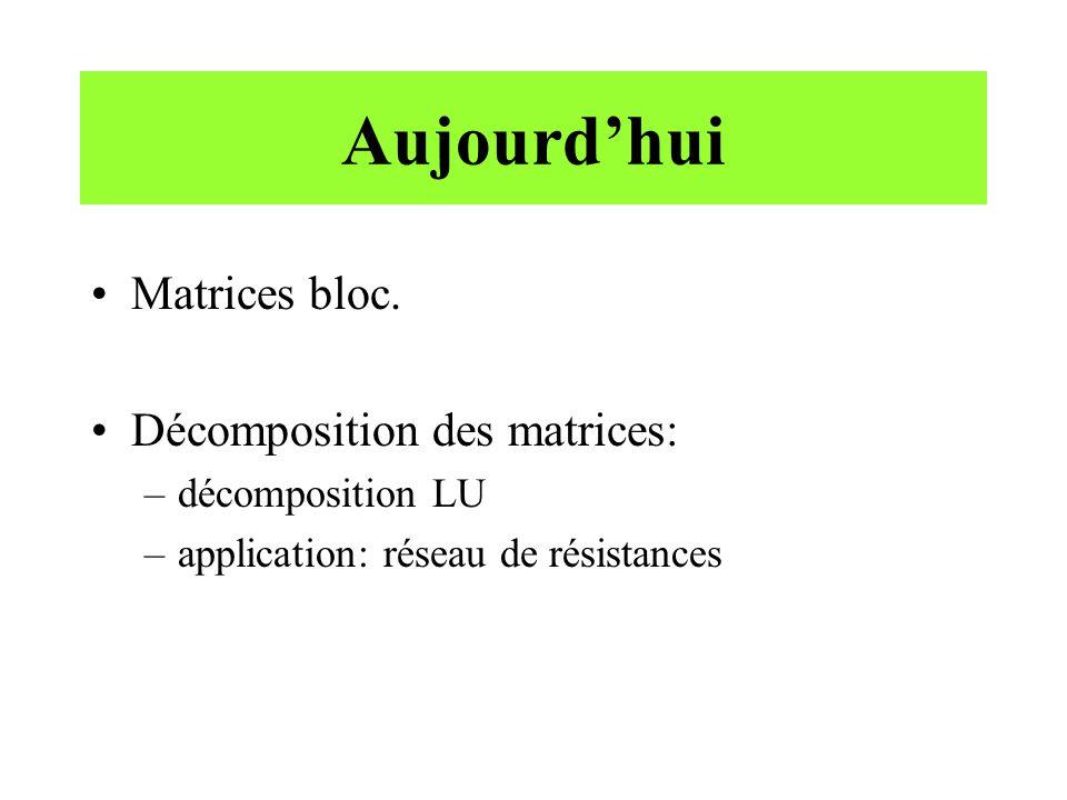 Aujourd'hui Matrices bloc. Décomposition des matrices: –décomposition LU –application: réseau de résistances