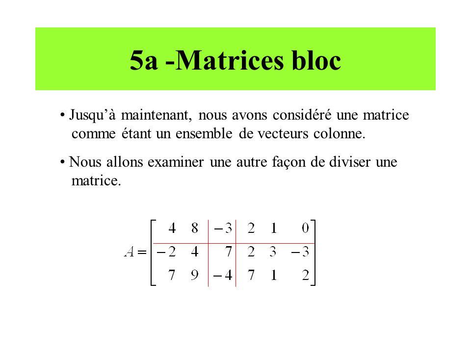 5a -Matrices bloc Jusqu'à maintenant, nous avons considéré une matrice comme étant un ensemble de vecteurs colonne. Nous allons examiner une autre faç