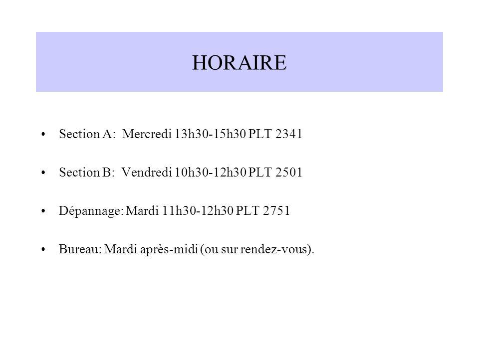 HORAIRE Section A: Mercredi 13h30-15h30 PLT 2341 Section B: Vendredi 10h30-12h30 PLT 2501 Dépannage: Mardi 11h30-12h30 PLT 2751 Bureau: Mardi après-mi