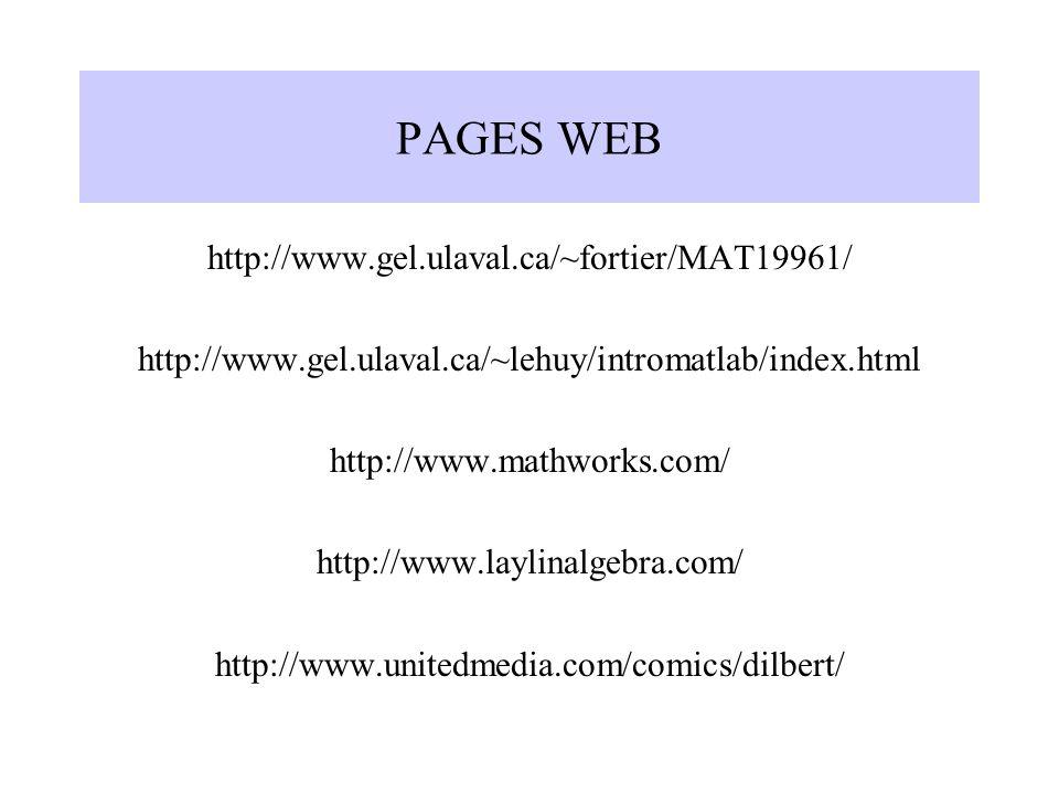 PAGES WEB http://www.gel.ulaval.ca/~fortier/MAT19961/ http://www.gel.ulaval.ca/~lehuy/intromatlab/index.html http://www.mathworks.com/ http://www.layl