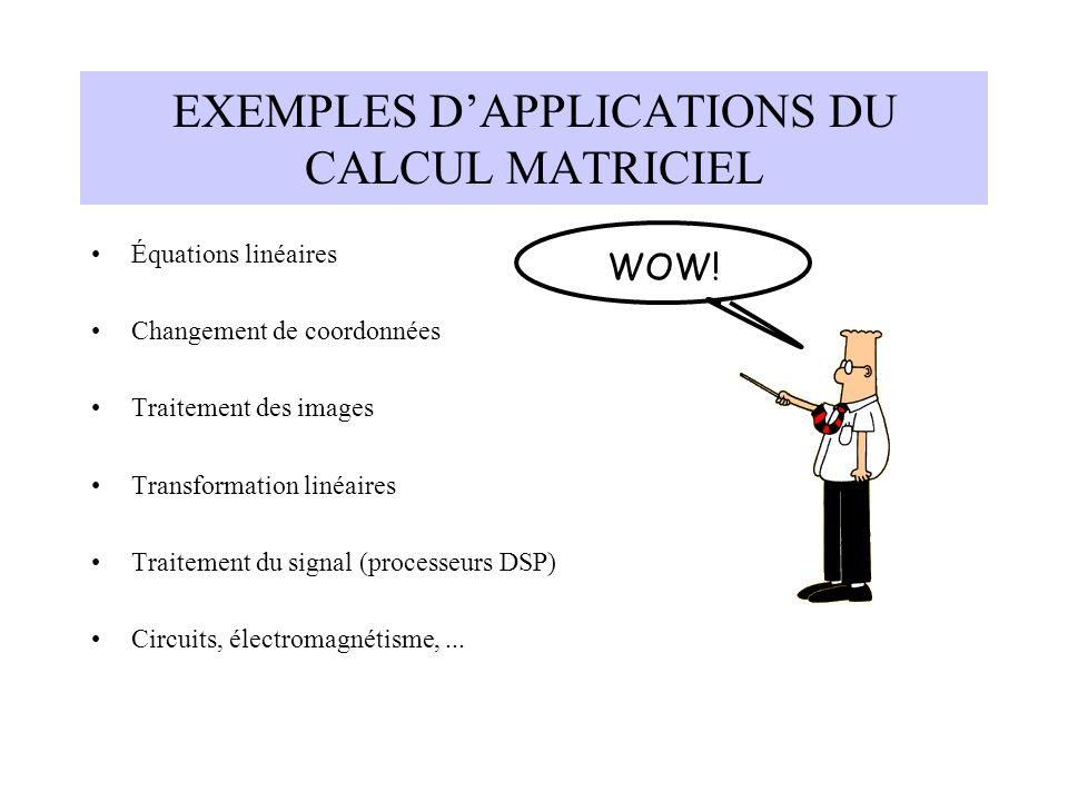 EXEMPLES D'APPLICATIONS DU CALCUL MATRICIEL Équations linéaires Changement de coordonnées Traitement des images Transformation linéaires Traitement du