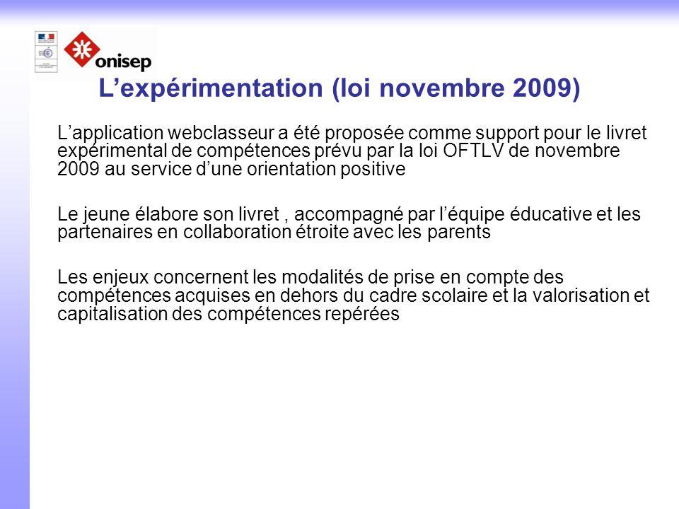 L'application webclasseur a été proposée comme support pour le livret expérimental de compétences prévu par la loi OFTLV de novembre 2009 au service d