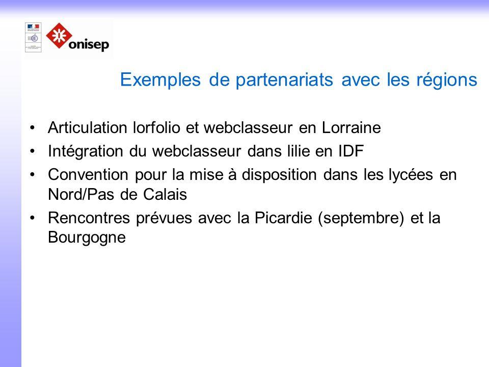 Exemples de partenariats avec les régions Articulation lorfolio et webclasseur en Lorraine Intégration du webclasseur dans lilie en IDF Convention pou