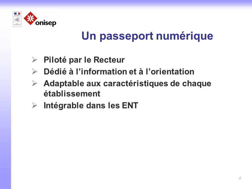 4 Un passeport numérique  Piloté par le Recteur  Dédié à l'information et à l'orientation  Adaptable aux caractéristiques de chaque établissement 
