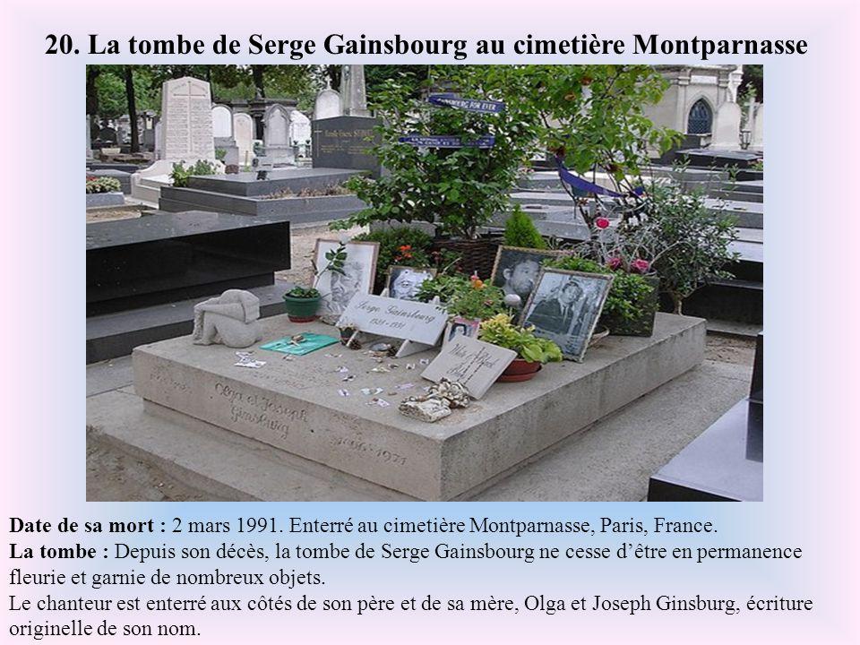 Date de sa mort : 18 avril 1988. Enterré au cimetière du Père Lachaise, Paris. La tombe : La tombe de Pierre Desproges pourrait passer inaperçu s'il n