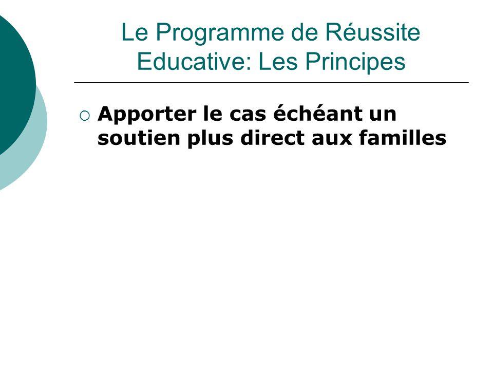  Apporter le cas échéant un soutien plus direct aux familles Le Programme de Réussite Educative: Les Principes