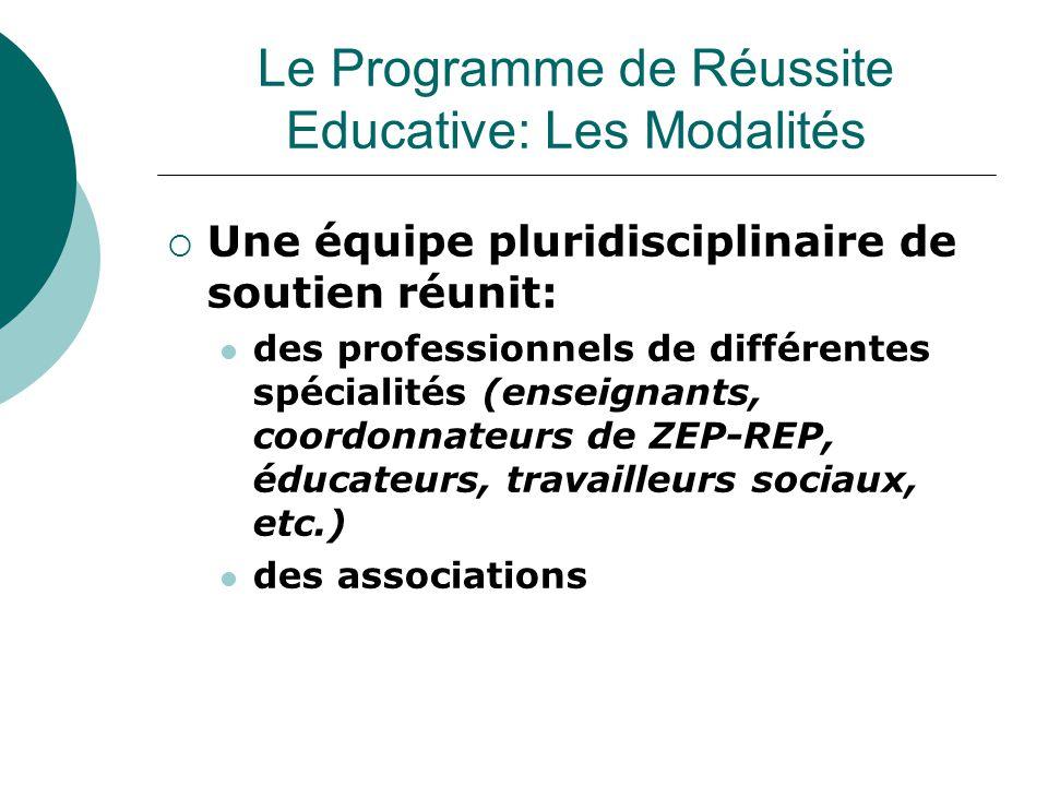  Une équipe pluridisciplinaire de soutien réunit: des professionnels de différentes spécialités (enseignants, coordonnateurs de ZEP-REP, éducateurs, travailleurs sociaux, etc.) des associations Le Programme de Réussite Educative: Les Modalités