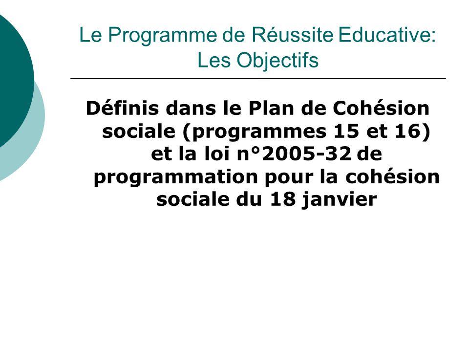 Le Programme de Réussite Educative: Les Objectifs Définis dans le Plan de Cohésion sociale (programmes 15 et 16) et la loi n°2005-32 de programmation