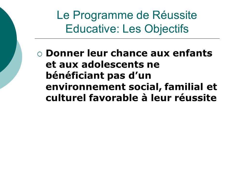  Donner leur chance aux enfants et aux adolescents ne bénéficiant pas d'un environnement social, familial et culturel favorable à leur réussite Le Programme de Réussite Educative: Les Objectifs