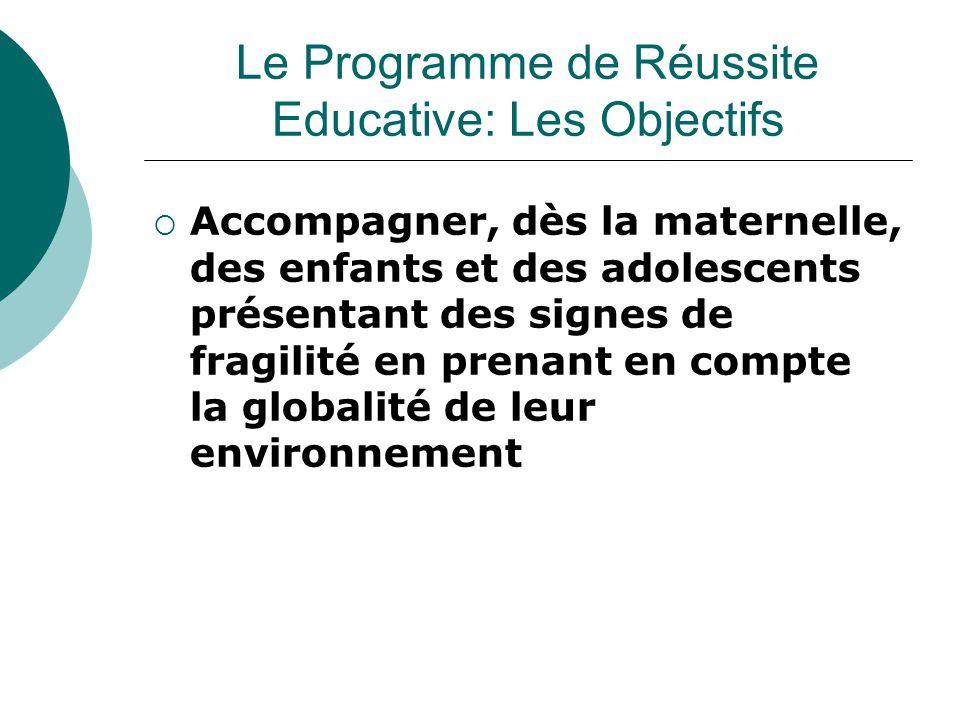  Les dispositifs de réussite éducative ont vocation à s'articuler avec les dispositifs existants, ils ne visent pas à se substituer à d'autres dispositifs en faveur de l'enfance Le Programme de Réussite Educative: Les Objectifs