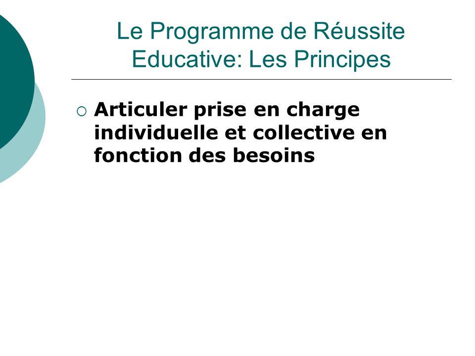  Articuler prise en charge individuelle et collective en fonction des besoins Le Programme de Réussite Educative: Les Principes