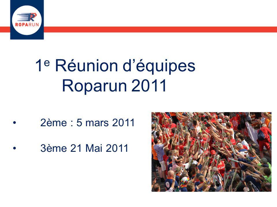 1 e Réunion d'équipes Roparun 2011 2ème : 5 mars 2011 3ème 21 Mai 2011