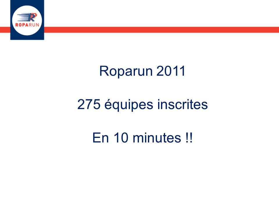Roparun 2011 275 équipes inscrites En 10 minutes !!